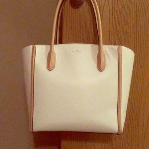 Kate spade tote bag white and tan